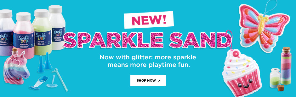 NEW Sparkle Sand! Now with glitter: more sparkle means more playtime fun.