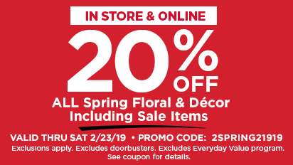 20% OFF ALL Spring Floral & Decor Including Sale Items
