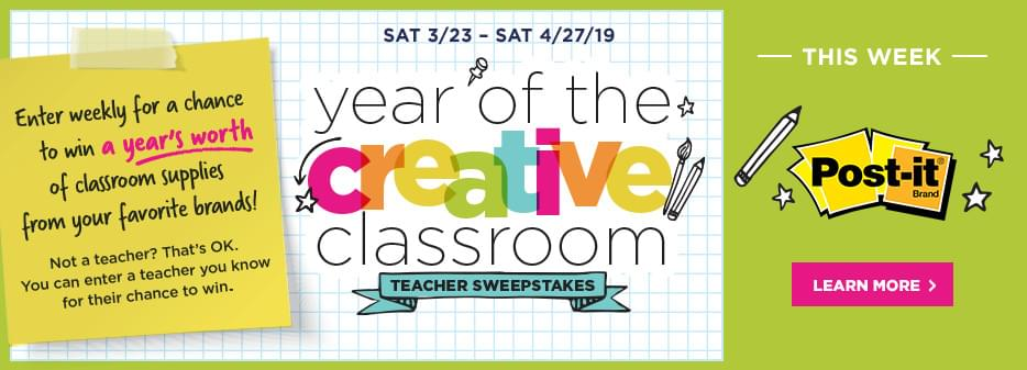 Year of the Creative Classroom. Enter weekly for a chance to win a year's worth of classroom supplies from your favorite brands. Learn more